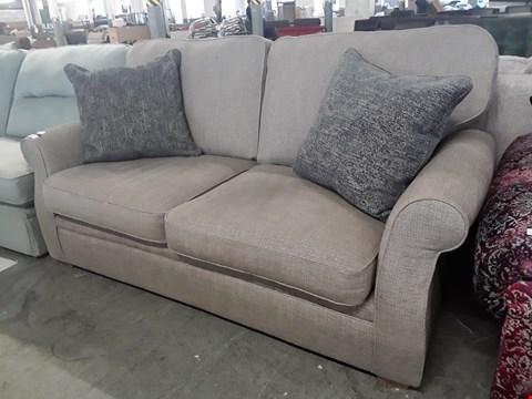 Lot 104 QUALITY BRITISH DESIGNER MINK FABRIC THREE SEATER SOFA WITH CHARCOAL SCATTER CUSHIONS