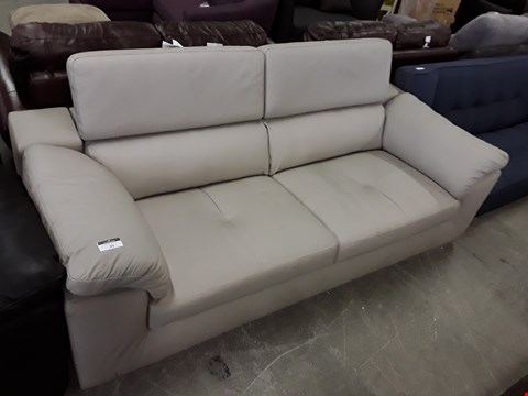 Lot 25 DESIGNER CLAY COLOUR FABRIC ITALIAN STYLE 3 SEATER SOFA WITH ADJUSTABLE HEADRESTS