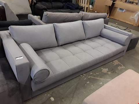 Lot 53 DESIGNER GREY FABRIC 3 SEATER SOFA WITH BOLSTER CUSHIONS