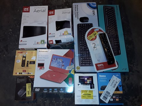 """Lot 2093 LARGE QUANTITY OF ASSORTED TECH ITEMS TO INCLUDE 9"""" PORTABLE DVD PLAYER, ROKU EXPRESS AND VARIOUS KEYBOARDS"""