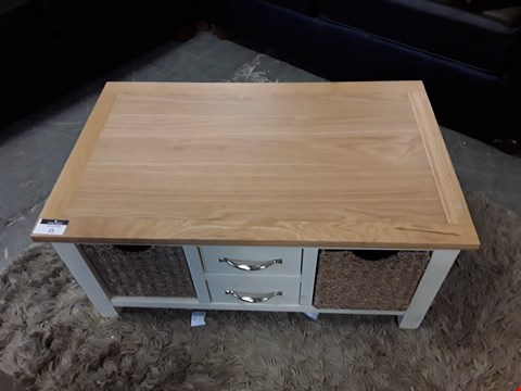 Lot 24 DESIGNER PAINTED WOOD AND OAK EFFECT RECTANGULAR COFFEE TABLE WITH DRAWERS AND WICKER STORAGE