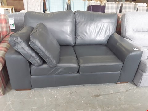 Lot 34 QUALITY BRITISH DESIGNER ANTHRACITE LEATHER 2 SEATER SOFA