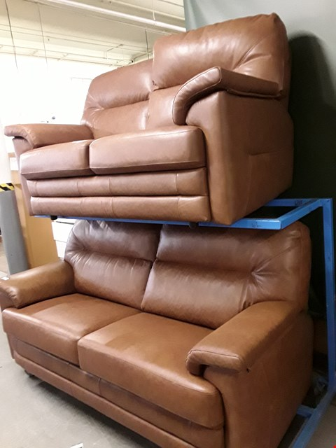Lot 1001 QUALITY BRITISH MADE, HARDWOOD FRAMED BROWN LEATHER 2 AND 3 SEATER SOFAS