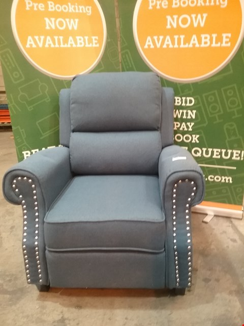 Lot 65 DESIGNER BLUE FABRIC RECLINING ARM CHAIR WITH STUDDED ARM DETAIL