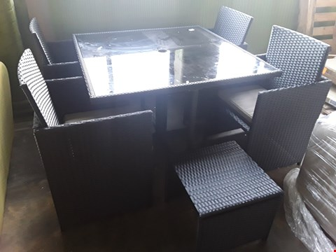 Lot 10054 DESIGNER BLACK RATTAN EFFECT PATIO DINING SET COMPRISING, SQUARE GLASS TOPPED TABLE, 4 CHAIRS & FOOTSTOOL