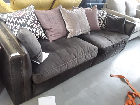 Lot 2015 QUALITY BRITISH DESIGNER MULTI FABRIC LARGE 3 SEATER SOFA WITH STUDDED DETAIL AND SCATTER BACK CUSHIONS