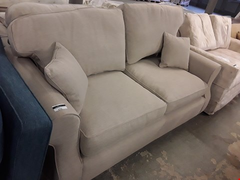 Lot 24 QUALITY HAND MADE SOMERTON TAN FABRIC 3 SEATER METAL ACTION SOFA BED  RRP £1928.00