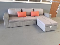 Lot 38 BLOOMA GABBS CHAISE RATTAN GARDEN SOFA WITH STORAGE