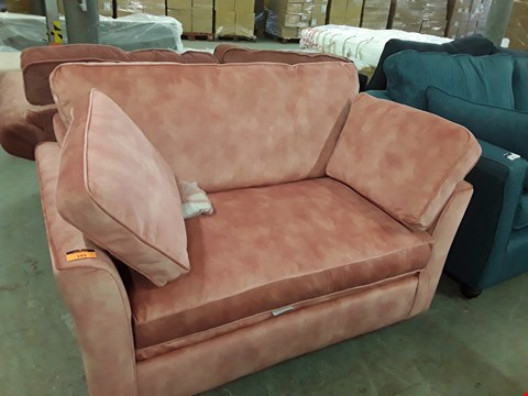 Lot 193 QUALITY HAND MADE BURNT RUSSET FABRIC LOVE SEAT METAL ACTION SOFA BED RRP £1580.00