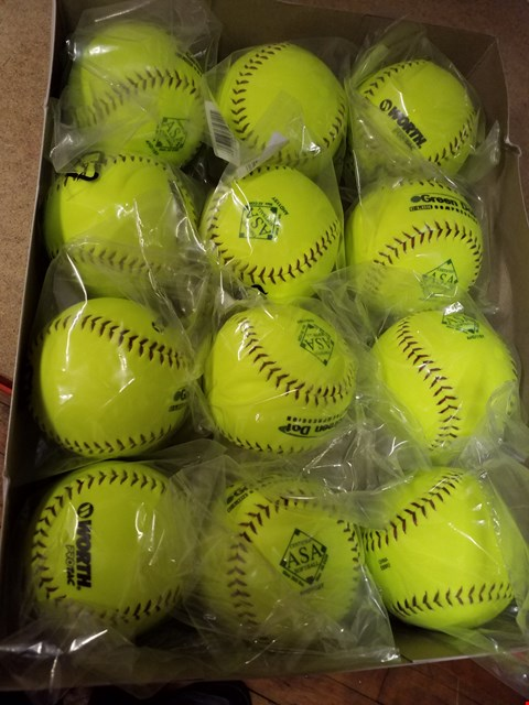 "Lot 2019 A BOX CONTAINING 12 12"" SLOWPITCH SOFTBALLS"