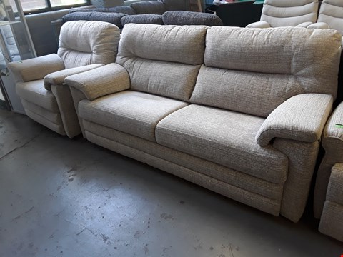 Lot 134 QUALITY BRITISH DESIGNER HARDWOOD FRAMED NATURAL FABRIC SUITE, COMPRISING MANUAL RECLINING EASY CHAIR & FIXED THREE SEATER SOFA