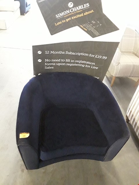 Lot 188 QUALITY BRITISH DESIGNER BLUE PLUSH VELVET CURVED FRONT TUB CHAIR