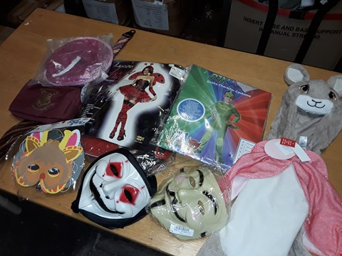 Lot 229 LOT OF ASSORTED FANCY DRESS ITEMS TO INCLUDE PJ MASKS GECKKO COSTUME, MASKS AND HARRY POTTER THEMED TIE