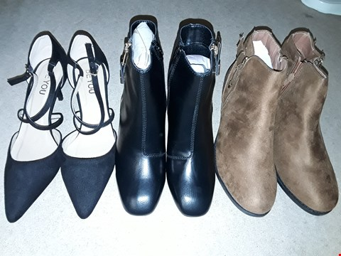 Lot 1837 LOT OF 8 ASSORTED BOXED FOOTWEAR ITEMS TO INCLUDE BLOCK HEEL TRIM AND ZIPPER BOOTS SIZE 4, CROSS OVER STRAP HEELS SIZE 6, ZIP AND HEEL DETAIL ANKLE BOOTS SIZE 6