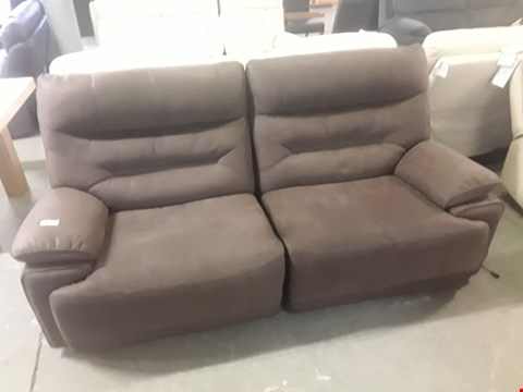 Lot 651 QUALITY MADE TORINO SOFT DARK BROWN FABRIC THREE SEATER POWER RECLINING SOFS  RRP £1599.99
