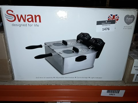 Lot 1476 SWAN SD6041 STAINLESS STEEL DOUBLE FRYER RRP £65