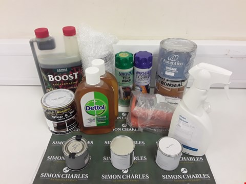 Lot 8054 LOT OF ASSORTED ITEMS TO INCLUDE PAINTS/VARNISHES, CLEANING CHEMICALS, ISOPROPYL ALCOHOL