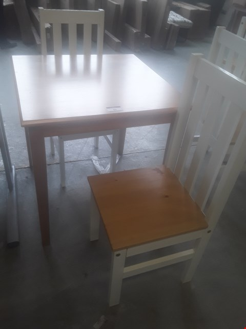 Lot 80 DESIGNER LUDLOW DINING SET, COMPRISING, SQUARE OAK TOPPED TABLE & PAIR WHITE DINING CHAIRS RRP £185