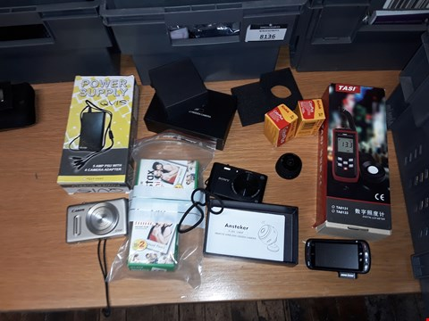 Lot 8195 A BOX OF APPROXIMATELY 7 ASSORTED ITEMS TO INCLUDE CANON S100 , ANSTEKER REMOTE WIRELESS HIDDEN CAMERA AND SONY CYBER SHOT CAMERA ETC