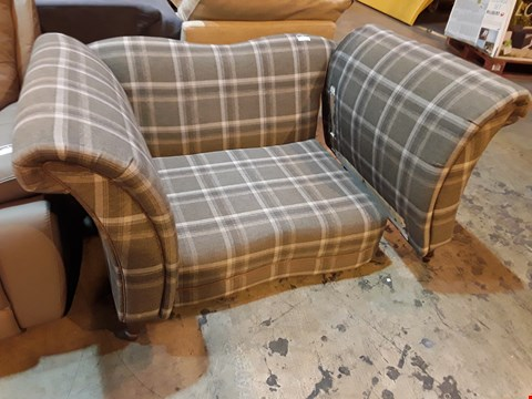 Lot 502 DESIGNER GREY CHECKED FABRIC SNUGGLE CHAIR