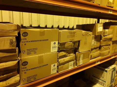 Lot 3087 SHELF OF APPROXIMATELY 38 BOXES OF ASSORTED CATERING & HOTEL WARE SUNDRIES