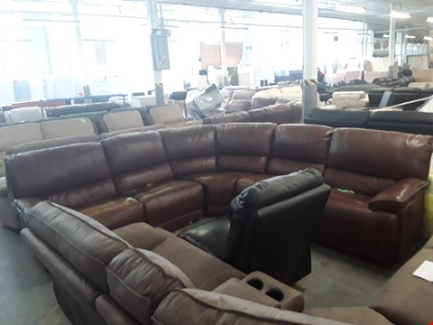 Lot 430 DESIGNER BARI BROWN LEATHER MANUAL RECLINING CORNER GROUP  RRP £4999.00