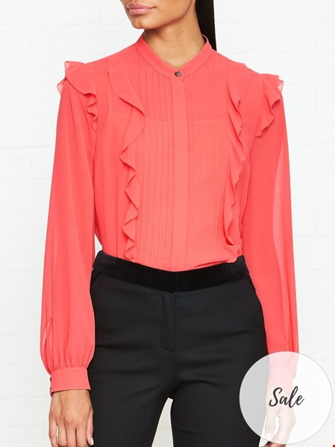 Lot 7059 PS PAUL SMITH CORAL FRILL LONG SLEEVE BLOUSE - SIZE 40