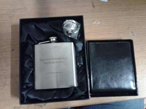 Lot 1503 LOT OF 2 ITEMS TO INCLUDE PERSONALISED PERSONALISED BLACK LEATHER WALLET AND PERSONALISED STAINLESS STEEL HIP