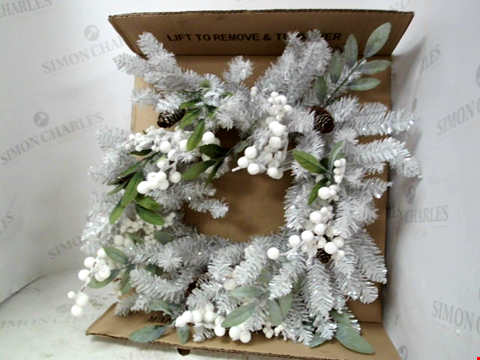 Lot 13032 SILVER-GREY AND WHITE BERRY WREATH RRP £25.00