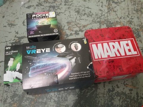 Lot 11066 LOT OF 4 ASSORTED ITEMS TO INCLUDE BIT MORE VR-EYE, MARVEL TIN AND POCKET PARTY LIGHT
