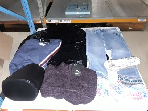 Lot 3084 4 BOXES OF ASSORTED CLOTHING TO INCLUDE BACK VELVET CHILDRENS COAT, GIRLS JEANS, BLACK FAUX LEATHER HANDBAG AND MAROON JUMPER