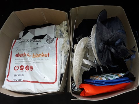 Lot 7 LOT OF ASSORTED HOME FABRIC AND CLOTHING ITEMS TO INCLUDE SINGLE ELECTRIC BLANKET, BLAZERS AND DECORATIVE HATS