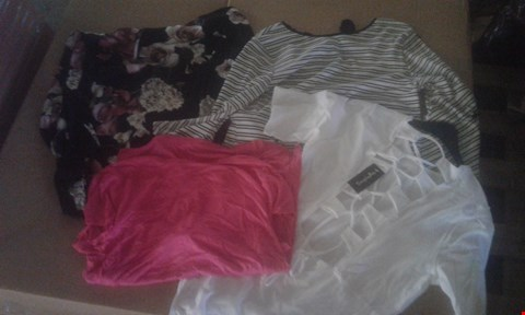 Lot 7081 BOX OF APPROXIMATELY 95 X ASSORTED CLOTHING ITEMS TO INCLUDE STRIPED FLUTED TOP, BRA SET AND COWL V-BACK TOPS