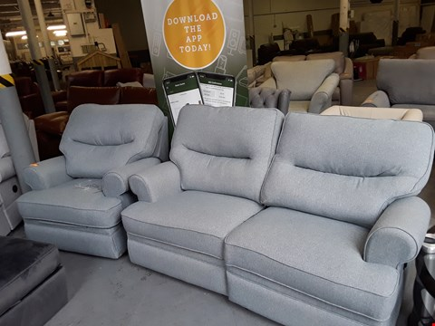 Lot 163 QUALITY BRITISH DESIGNER DUCK EGG FABRIC POWER RECLINING 3 SEATER SOFA AND ARMCHAIR