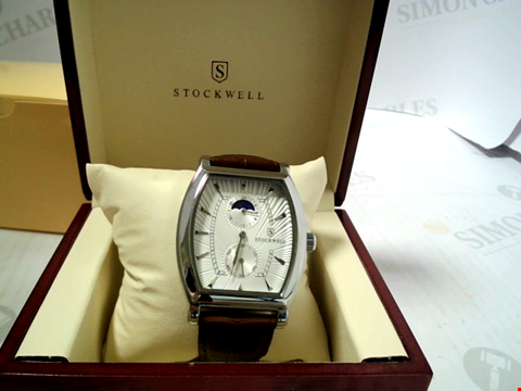 Lot 3302 DESIGNER STOCKWELL MOONPHASE AM'PM INDICATOR LEATHER STRAP WRISTWATCH RRP £650.00