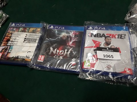 Lot 1065 LOT OF THREE ASSORTED PS4 GAMES TO INCLUDE NBA2K18, NIOH AND GTA V