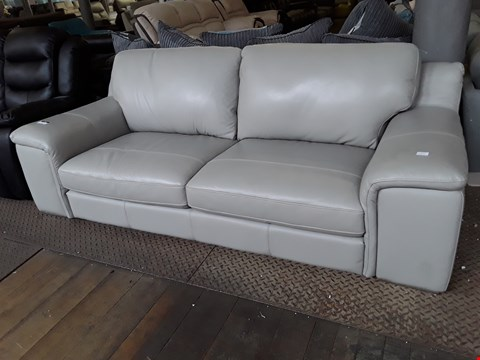 Lot 7 DESIGNER BEIGE LEATHER THREE SEATER SOFA