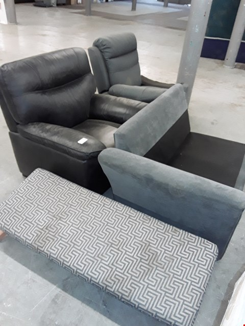 Lot 178 LOT OF 4 ASSORTED UPHOLSTERY ITEMS TO INCLUDE 2 CHAIRS, SOFA SECTION AND FOOT STOOL
