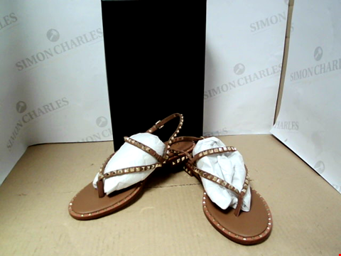 Lot 7102 ASH PEPS LEATHER AND STUD TAN SANDALS - SIZE 40