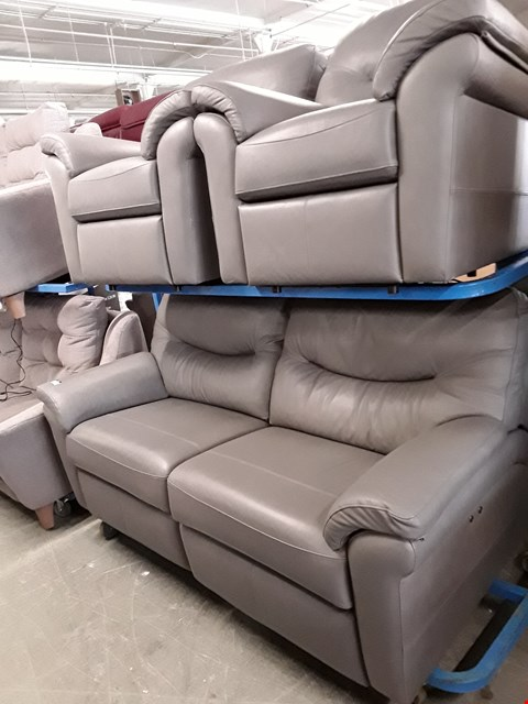 Lot 1015 QUALITY BRITISH MADE, HARDWOOD FRAMED GREY LEATHER POWER RECLINING 3 SEATER SOFA AND 2 POWER RECLINING ARMCHAIRS