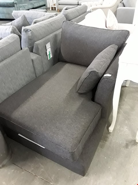 Lot 38 QUALITY BRITISH DESIGNER CHARCOAL FABRIC CHAISE SECTION