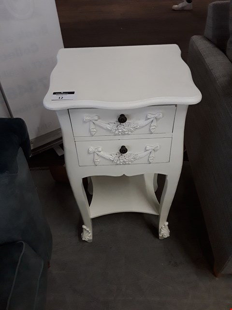 Lot 12 DESIGNER WHITE FINISH ORNATE 2 DRAWER BEDSIDE CABINET
