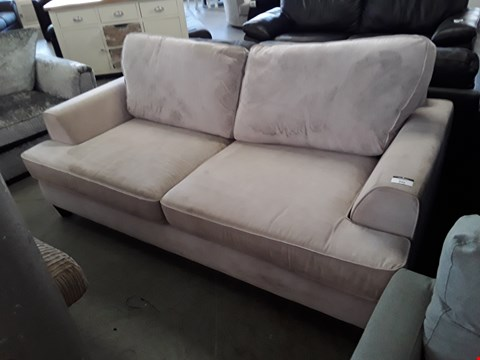Lot 346 DESIGNER BEIGE FABRIC 3 SEATER SOFA