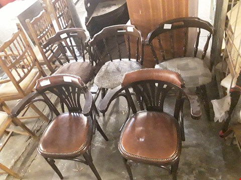Lot 8042 5 WOODEN FRAMED CHAIRS