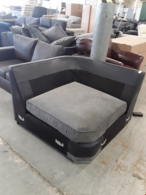 Lot 300 DESIGNER BLACK FAUX LEATHER AND GREY FABRIC CORNER SECTION