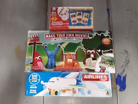 Lot 767 LOT OF 3 ASSORTED ITEMS TO INCLUDE TRANSPORT DOMINOES, MAKE YOUR OWN MOVIE ANI-MATE PACK AND AIRLINES FLASH ELECTRIC AIR BUS A380 TOY