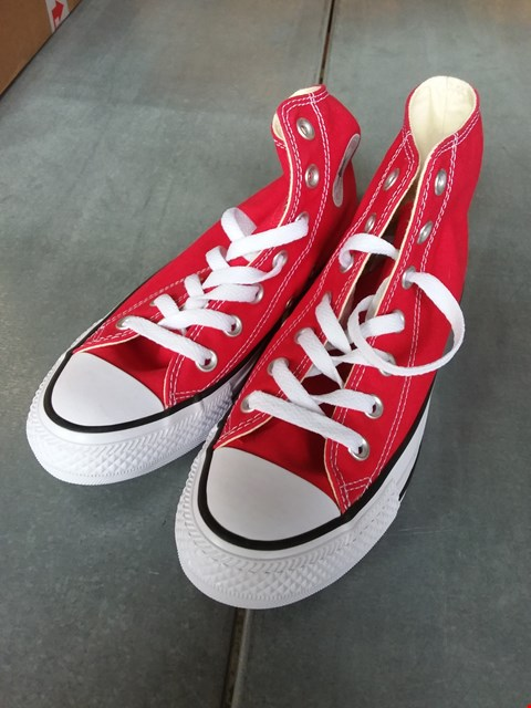 Lot 7069 CONVERSE ALL STAR HI TOP TRAINERS RED/WHITE SIZE UK 3.5