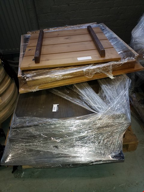 Lot 10224 PALLET OF ASSORTED TABLE TOPS IN VARIOUS SIZES AND DESIGNS