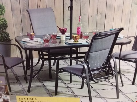 Lot 17345 BOXED MONTREAL GLASS TOP GARDEN DINING TABLE