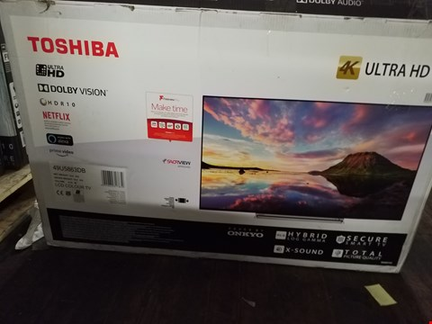 "Lot 3625 TOSHIBA 49"" 4K HDR10 DOLBY VISION TELEVISION MODEL 49U5863DB DAMAGED RRP £449.00"
